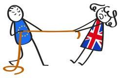 Conflit de Brexit entre UE et la Grande-Bretagne, chiffres de bâton, homme et femme, métaphore illustration stock