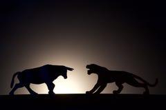 Conflit de concept Taureau contre la silhouette de tigre image libre de droits