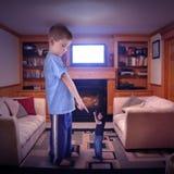 Conflit de famille de télévision Photographie stock libre de droits