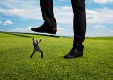 Conflit entre l'homme d'affaires et le patron Photo stock
