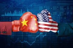 Conflit entre la Chine et les Etats-Unis illustration stock