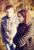 Conflit et tension émotive dans de jeunes couples Photos stock