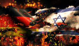 Conflit international 3D de l'Allemagne Israel Flag War Torn Fire Photographie stock