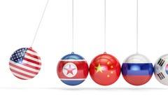 Conflit politique des Etats-Unis avec la Corée du Nord, Corée du Sud, Russie illustration stock
