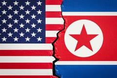 Conflit politique et militaire des USA et de la Corée du Nord, rendu 3D Photos stock