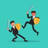 Conflito Batalha de dois empregados Ilustração do vetor Fotografia de Stock Royalty Free