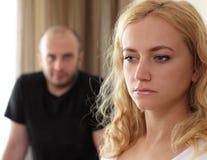 Conflito entre o homem e a mulher Imagens de Stock Royalty Free