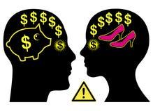 Conflitto coniugale dei soldi Fotografie Stock