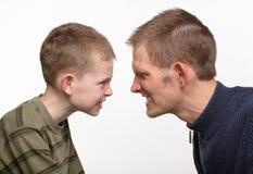 Conflitto del figlio del padre Fotografie Stock