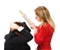 Conflitto della donna e dell'uomo Immagini Stock Libere da Diritti