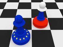 Conflitto fra la Russia e l'UE: Russo e pegni di scacchi della bandiera di UE, illustrazione illustrazione vettoriale