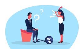 Conflitto gridante arrabbiato della gamba della catena dei punti interrogativi dell'uomo di affari di credito di debito di finanz royalty illustrazione gratis
