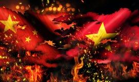 Conflitto internazionale 3D del fuoco lacerato di guerra della bandiera della Cina Vietnam Fotografie Stock