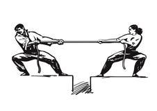 Conflitto 2 L'uomo e la donna sono corda di trazione Concetto competitivo di affari Combattimento delle coppie Conflitto di gener illustrazione di stock