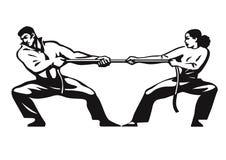 Conflitto 2 L'uomo e la donna sono corda di trazione Concetto competitivo di affari Combattimento delle coppie Conflitto di gener illustrazione vettoriale