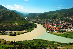 Confluence of Aragvi and Kura rivers in Mtskheta Royalty Free Stock Photo
