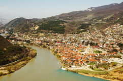 Confluence of the Aragvi River in the Kura River. Near the city of Mtskheta in Georgia Stock Photos