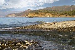 Confluence av bergfloden av havet Royaltyfri Foto
