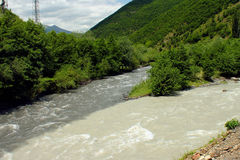 Confluence of Black and White Aragvi rivers, Caucasus Mountains, Royalty Free Stock Image