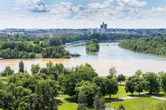 Confluence of Danube and Sava river in Belgrade Royalty Free Stock Photography