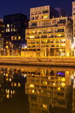 The Confluence District in Lyon, France at night Stock Photo