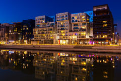 The Confluence District in Lyon, France at night Stock Photography