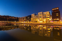 The Confluence District in Lyon, France at night Royalty Free Stock Photo