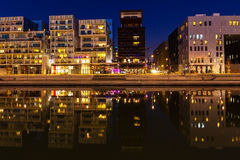 The Confluence District in Lyon, France at night Royalty Free Stock Photos