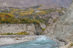 Confluence of Hunza and Nagar Rivers in Northern Pakistan Royalty Free Stock Image