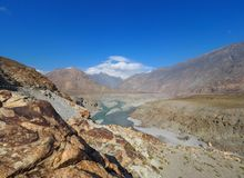Confluence Of Indus And Gilgit Rivers In Northern Area Of Pakistan Royalty Free Stock Image
