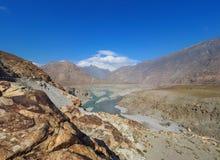 Confluence Of Indus And Gilgit Rivers In Northern Area Of Pakistan. Where Karakoram, Hindukush And Himalayan Ranges Meet Royalty Free Stock Image