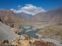 Confluence Of Indus And Gilgit Rivers In Northern Area Of Pakistan Royalty Free Stock Photos