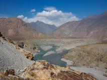 Confluence Of Indus And Gilgit Rivers In Northern Area Of Pakistan. Where Karakoram, Hindukush And Himalayan Ranges Meet Royalty Free Stock Photos