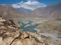Confluence Of Indus And Gilgit Rivers In Northern Area Of Pakistan. Where Karakoram, Hindukush And Himalayan Ranges Meet Stock Photos