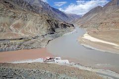 Confluence of the Indus and Zanskarar rivers, Ladakh, India. Confluence of the Indus River and the Zanskar river in a valley near NImmu village in Ladakh, india Stock Image