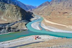 Confluence of Indus & Zanskar river at Ladhak-October,INDIA- stock photos