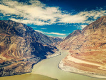 Confluence of Indus and Zanskar rivers, India Stock Photography