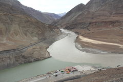 Confluence of the Indus and Zanskar Rivers(Ladakh). Ladakh, also called little Tibet (India) - Scenic view of the Himalayan chain with the Indus river Royalty Free Stock Photography