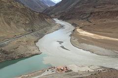 Confluence of the Indus and Zanskar Rivers. stock photography