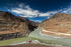Confluence of Indus and Zanskar Rivers, Ladakh Stock Photos