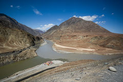 Confluence of the Indus and Zanskar Rivers Royalty Free Stock Image