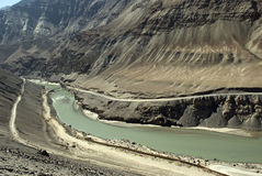 Confluence of the Indus and Zanskar Rivers, Ladakh, India Royalty Free Stock Photo