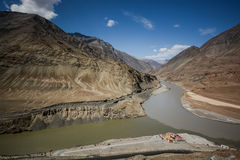 Confluence of the Indus and Zanskar Rivers Stock Photo