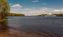 The confluence of the Moskva River and the Oka River. Moscow river (right) joins the river Oka (left), Kolomna, Russia royalty free stock photos