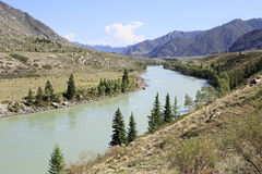 Confluence of mountain rivers Big Ilgumen and Stock Photo