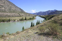 Confluence of mountain rivers Big Ilgumen and Royalty Free Stock Images