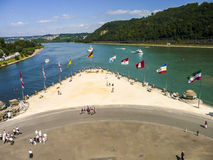 Confluence of Rhine and Mosel river Stock Photos