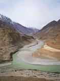 Confluence of river Indus and Zanskar. Confluence of rivers Zanskar and Indus in Hiamalayan mountains, Ladakh, Jammu and Kashmir Stock Photos