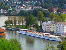 Confluence of rivers Danube and Inn Stock Images