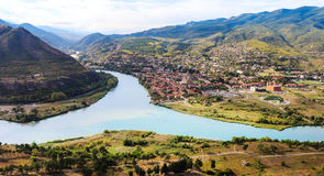 The confluence of the rivers Kura and Aragvi Mtskheta in Georg. The picturesque landscape with the confluence of the rivers Kura and Aragvi Mtskheta in Georgia Stock Image
